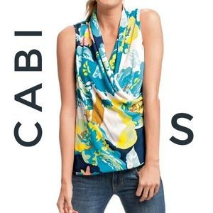 Cabi spring floral faux wrap sleeveless top